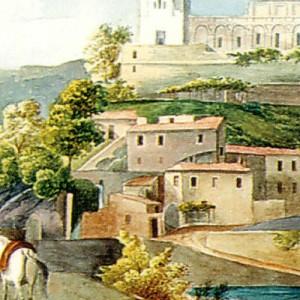 Aquarelle du château et des moulins